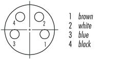 M8, Dişi Kablolu Tip 4 Kontaklı Konnektör , 5 Metr