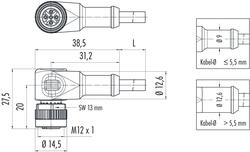 Dişi Açılı Kablolu Tip 4 Kontaklı Konnektör